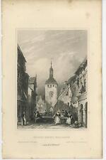 ANTIQUE MARKET STREET WIESBADEN GERMAN CLOCK TOWER SELLING FOOD OLD 1840S PRINT