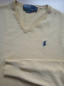 Mens Ralph Lauren Yellow V Neck Merino Wool Slim Fit Jumper Size S Small