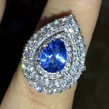 CEYLON! 5.19TCW Blue Sapphire Diamonds 18K solid white engagement Ring Wedding