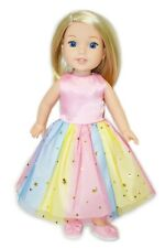 14 Inch Doll Clothes Rainbow Tutu Dress & Shoes Set For Wellie Wishers Doll