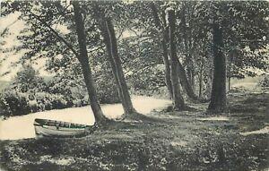 "Sudbury River Vintage 1907 Postcard Framingham Rowboat River's Edge 3.5"" x 5.5"""