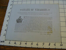 vintage paper: 1879 STATE OF VERMONT tax on the Town of Corinth 40 cents per $1