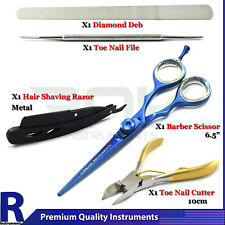 Professional Barber Hairdressing Scissor Hair Shaving Razor Toe Nail File Cutter