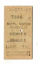 BIGLIETTO FERROVIARIO  EDMONSON  TICKET  MILANO  VERONA  SUPP.RAPIDO  08-10-1960