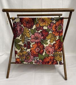 Vintage Wood Folding Frame Yarn  Caddy Sewing Basket Holder Tote bright flowers
