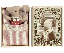 Maileg - Newborn Sleepy/Wakey Baby Matchbox Mouse - Girl - Boxed w/Sleeping Bag