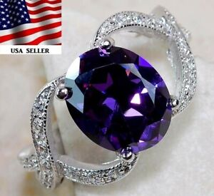 4CT Amethyst & White Topaz 925 Solid Sterling Silver Ring Jewelry Sz 8, M4