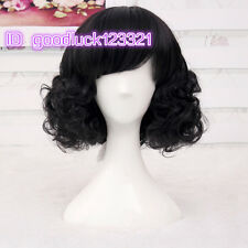 Snow White Princess Black Curly Short Snythetic Cosplay Wig +free wig cap