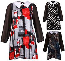 Womens Printed Chiffon Sleeve Ladies Peter Pan Collar Swing Mini Dress Plus Size