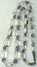 VINTAGE ANTIQUE 1920'S STERLING SILVER AMETHYST QUARTZ AND ROCK CRYSTAL NECKLACE