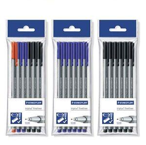 Staedtler Triplus Fineliner Pens - Pack of 6 Pens  - Black/Blue/Assorted NEW!