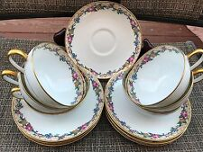 Vintage C Ahrenfeldt - #AHR5 Floral - set Of 6 Tea Cups and Saucers Limoges