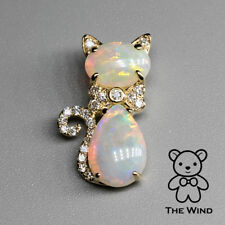 Adorable Cat Australian Solid Opal Diamond Pendant Necklace 14k Yellow Gold