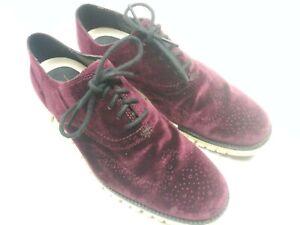 Cole Haan ZeroGrand Leather Velvety Burgundy Purple Wingtip Stitch Shoe Mens 8.5