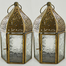 Moroccan Style Lanterns Set of Two Iron Clear Glass LED Tea Light Candle Holders