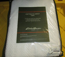 Eddie Bauer Home 200606 Herringbone Cotton Blanket Twin, Bone, New Free Ship