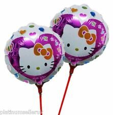 (SET OF 10) HELLO KITTY ROUND FOIL BALLOONS WITH STICKS **PARTY SUPPLIES**