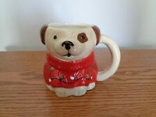Hand Painted Christmas Puppy Dog in Sweater Coffee Mug