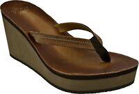 Womens Cushe® UW01221 Fresh Anisa Tan Wedge Sandals Medium Width Size