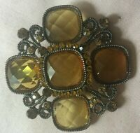 ANTIQUE VINTAGE FACETED AMBER PENDANT/BROOCH/PIN
