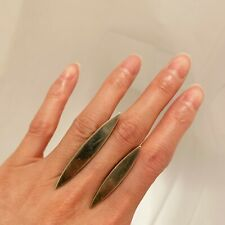 $400 UNEARTHEN Double Shadow Ring Oxidized Sterling Silver Cast size 6