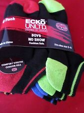 6 Pair Ecko Unlimited Boys No Show Boat Socks Soft and Durable BlackHeel Toe 3-9
