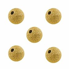 40 x 8mm Gold Stardust Round Metal Spacer Beads Brass