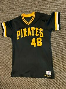 1984 BOB SKINNER COACH #48 PITTSBURGH PIRATES DESCENTE GAME USED JERSEY  BBC