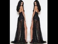 Women Sequin Party Dress Tassel Side Slit Meshing Bodycon Long Maxi Dress V Neck
