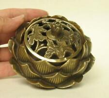 chinese  fengshui copper handmade lotus hollow smoked copper incense burner