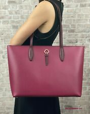 KATE SPADE NEW YORK ADEL LEATHER LARGE TOTE SHOULDER BAG $329 Cranberry