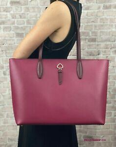 KATE SPADE NEW YORK ADEL LEATHER LARGE TOTE SHOULDER BAG $329 Cranberry
