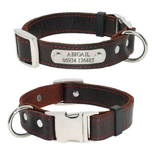 Personalised Large Genuine Leather Dog Collar Custom Engraved Pet Puppy Collars