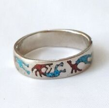 Kokopeili Ring, Nickel Ring, Turquoise and Coral Chip Inlay Ring, Size 8