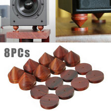 "8Pcs Rosewood Speaker Isolation Feet Stand 23mm/0.91"" Wooden Spikes + Base Pads"