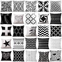 Taie d'oreiller Géométrique Housse de Coussin Chambre Maison Decor Noir et Blanc