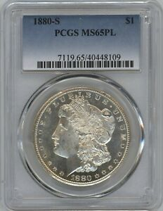 1880-S PCGS MS-65PL Morgan Silver Dollar ~ GORGEOUS MIRRORS ~ STARTS AT 1c