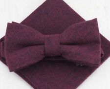 New Vintage Wine Cotton Wedding, Matching Pre-tied bow & Pocket Square Set. UK.