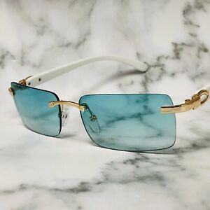 Mens Classy Exotic Elegant Retro Style Green EYE GLASSES Rimless Gold Wood Frame