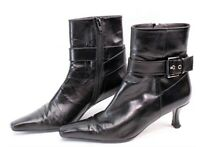 Stuart Weitzman Womens Kitten Heels Ankle Boots Booties Black Leather Size 6