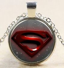 """Superman Glass Dome Cabochon 1"""" Silver Pendant 18"""" Chain Necklace Cool Gift-X"""