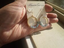 KENNETH COLE DESIGNER MATTE GOLD TONE DANGLING HOOPS EARRINGS with BLUE BEADS