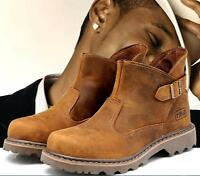 Mens Work Safety Buckle Sllip On Climbing Outdoor Leather Ankle Boots Size UK5-9