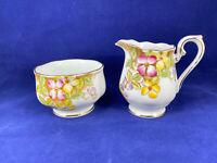 Royal Albert England Clematis Floral Open Sugar Bowl & Creamer Vintage