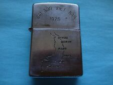 """VIETNAM WAR ZIPPO LIGHTER  SAIGON VIETNAM 1975 MAP SOUTH VIETNAM """" WAR IS HELL """""""