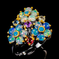 Opal Ring Silver 925 Sterling Beauty Rainbow4x4mm Size 9 /RT20-416-2