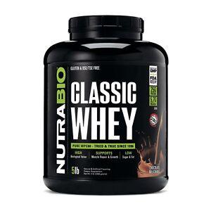 NutraBio Classic Whey 5lb 100% Whey Protein Concentrate Non-GMO USDA Kosher Whey