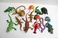 "Lot of 14 Various Animals Reptiles Frogs Crocs Lizards 2.5"" to 12"" Long"