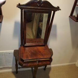 Antique Table-Top VANITY MIRROR SINGLE DRAWER Mahogany w lock ~1890-1910