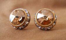 Crystallite Golden Shadow Rhinestone Rivoli Earrings